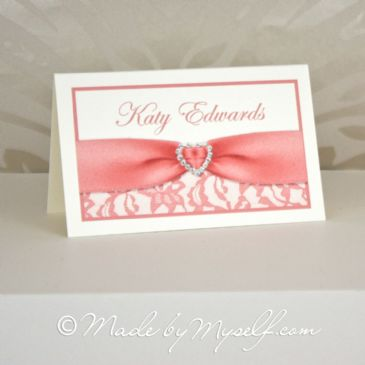 Printed Ribbon Heart Lace Place Card